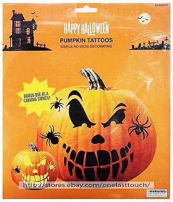 Happy Halloween Pumpkin Stencils (MOMENTUM BRANDS Decoration PUMPKIN TATTOO Jack-O-Lantern HAPPY HALLOWEEN)