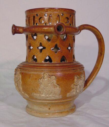 RARE Antique 19th C English Stoneware Puzzle Jug Mug W Middleton Staffordshire