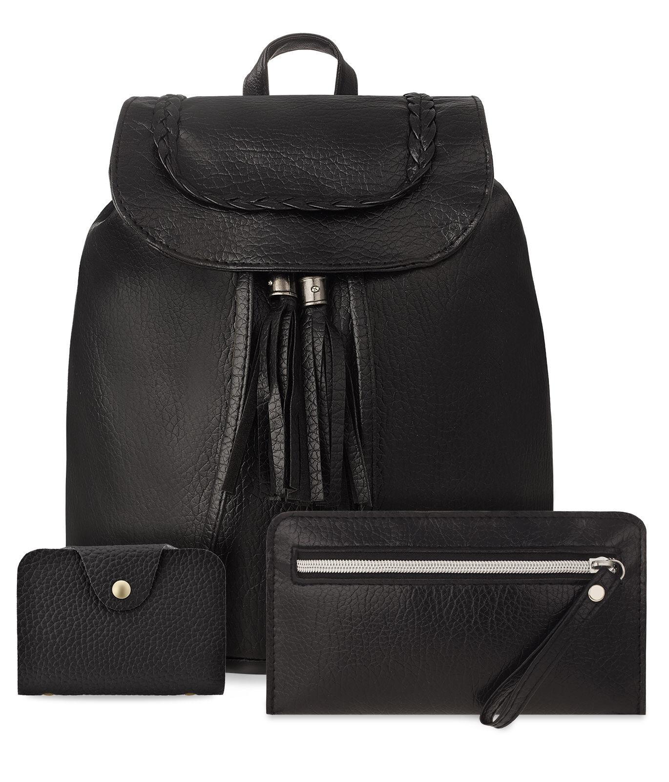 Damen Rucksack mit Fransen Anhänger 3 in 1 Handgelenktasche Etui schwarz