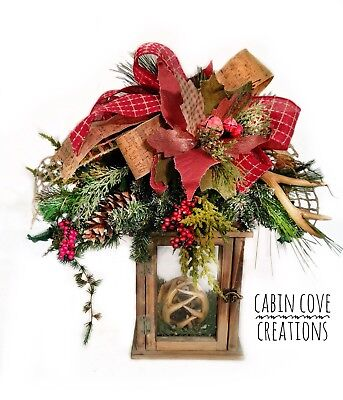 Country Christmas Lantern Centerpiece Floral Affair Woodland Rustic Antlers
