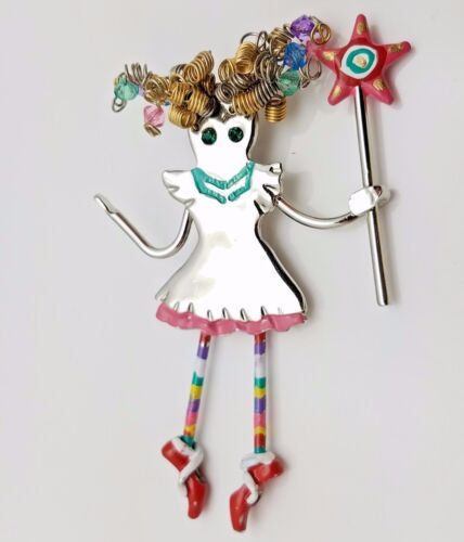 Brooch Pendant Articulated Wired Curly Hair Girl w Striped Dangle Legs Wand