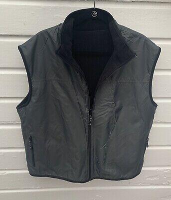 Free Country Mens Pewter Black Reversible Nylon / Fleece Vest -