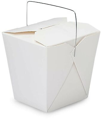 Made In Usa 50-count White 32 Oz Chinese Take Out Boxes With Handles Leak An...
