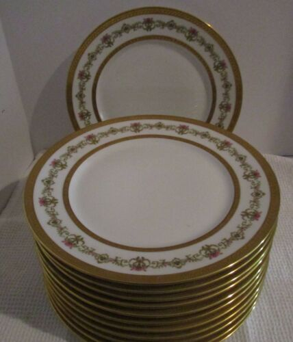 "12 Exquisite Charles Ahrenfeldt LIMOGES 9.75"" Dinner Plates - Gold Encrusted"