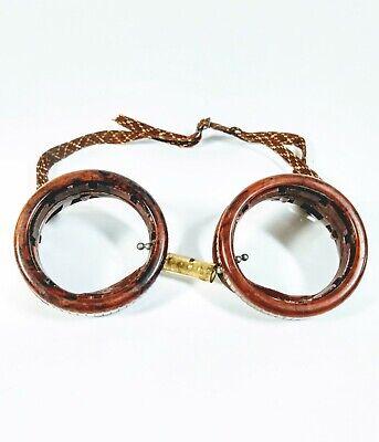 Vintage Red Bakelite Welder Goggles Steampunk Glasses Clear Lenses C1940