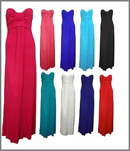 Womens-Long-Maxi-Dress-Strapless-Bandeau-Block-Colour-Sz-8-14-10-Colours-New