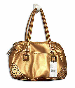 Kathy Van Zeeland Gold Studded Tote Purse Bag White 16