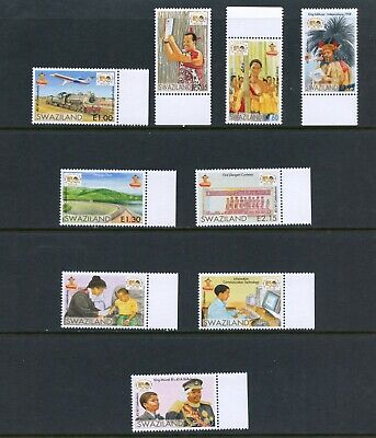 D255  Swaziland 2008 Independence trains airplanes dams King 9v. MNH