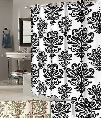 EZ On EVA Shower Curtain With Built in Hooks Fleur De Lis 72″x72″ Bath
