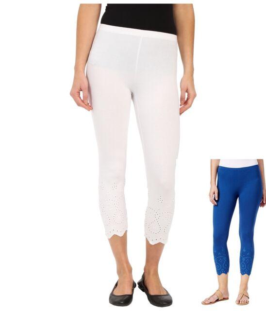 HUE Womens Eyelet Trim Cotton Capri Leggings Riviera Blue Size XL ...