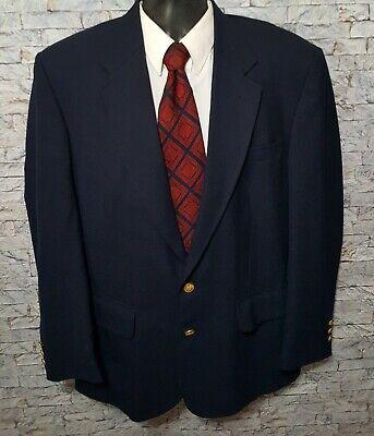 STAFFORD (40R) Men's Navy Blue Wool Blend 2 Gold Button Blazer Sport Coat Jacket