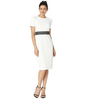 Calvin Klein New WT Modern CREAM Short Sleeve Dress w Black lace trim at waist Black Lace Trim Short
