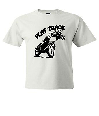 Motorcycle Flat Track Racing - Flat Track Motorcycle Racing Mens Unisex Crew Neck T-Shirt Top Tee Cotton Shirts