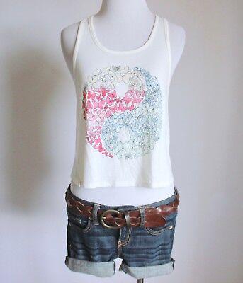 MUDD Butterfly Print Yin Yang Knit Racerback Crop Cami Tank Top Shirt Blouse - Butterfly Cami Tank Top