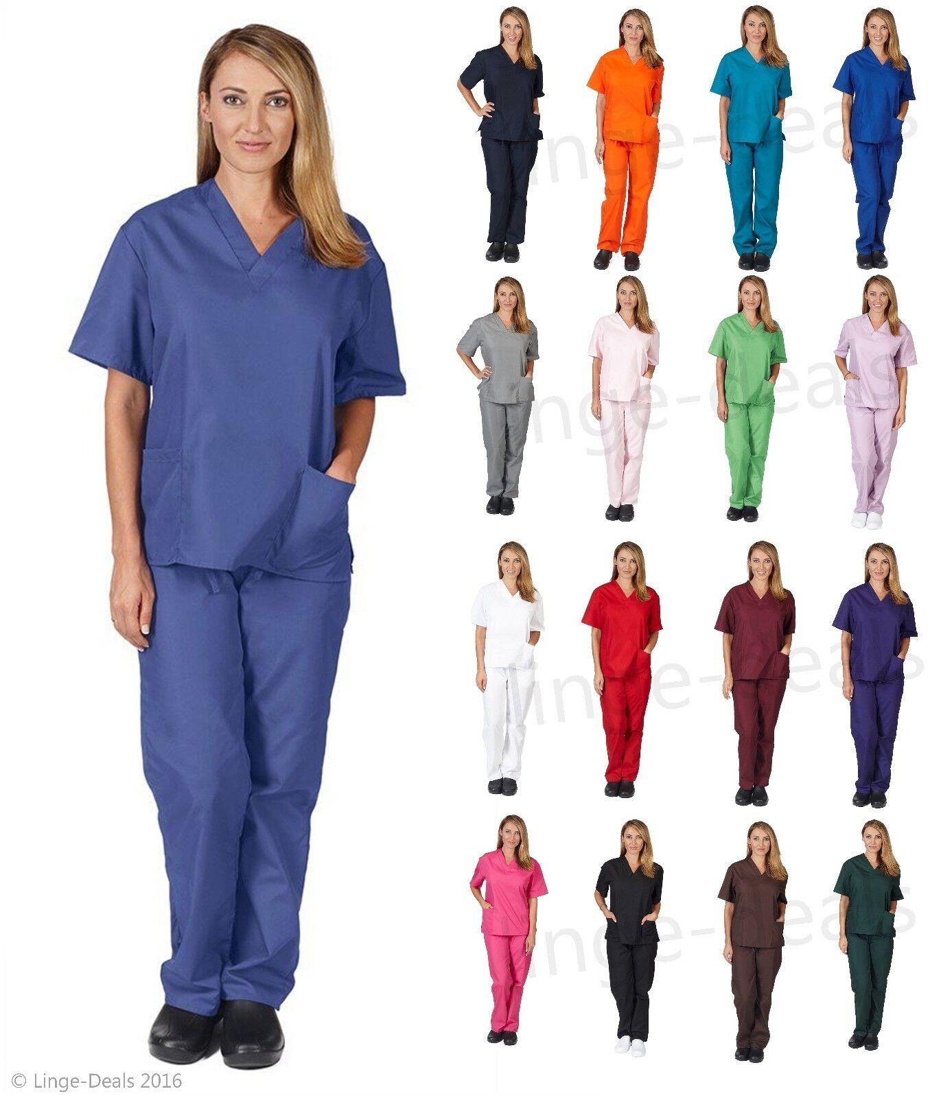 Medical Nursing Scrub Set Top/Pants Unisex Men/Women Natural