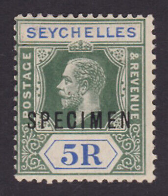 Seychelles. 1920. SG 97s, 5r green & blue, specimen. Fine mounted mint.
