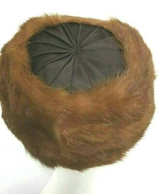 1950s Hats: Pillbox, Fascinator, Wedding, Sun Hats FUR Mink Cloche Pillbox Hat BROWN  Satin Top Women's Classic 1950's w Bow $47.83 AT vintagedancer.com