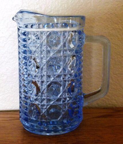 "Federal Glass, Windsor Blue Button & Cane Pitcher Creamer Pint size 5 3/4"""