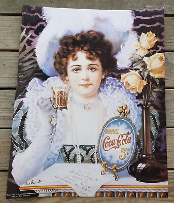 1890s COCA COLA GIRL FANCY DRESS HAT PEARLS 5 CENTS COKE GLASS CARDBOARD POSTER