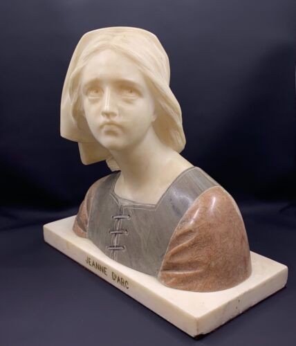 Giuseppe Bessi Alabaster Bust Sculpture Joan of Arc Authentic Italy Signed