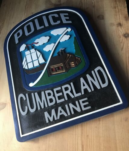 Police Cumberland Maine 3D routed wood patch sign plaque Custom Carved