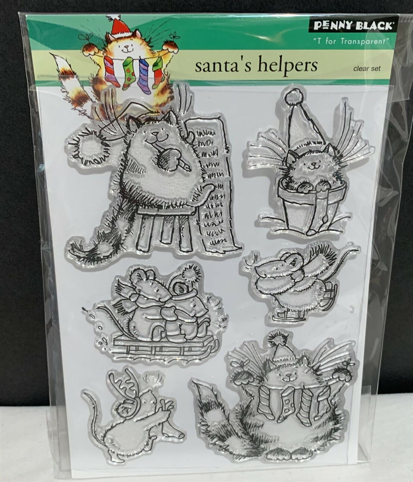 Penny Black SANTA'S HELPERS Cat Kitty Mouse Mice Christmas R