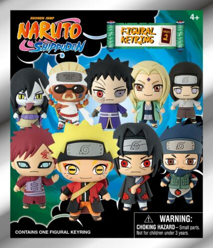 3x Official NARUTO Shippuden Monogram Figural 3D Series 2 Keyring Keychain Toy