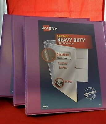 Lot Of 3- Avery 1 Heavy Duty Ring Binder With Clear Cover 8.5 X 11 - Orchid