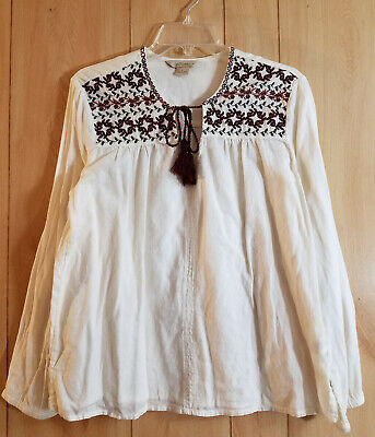 Natural Reflections - Womens Embroidered Cotton Tassel Tie Peasant Top - Size L