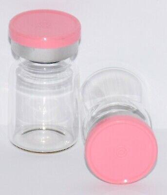 USP 5 mL Clear Sterile Vial with Baby Pink Plain Flip Off Seal 4 Pack