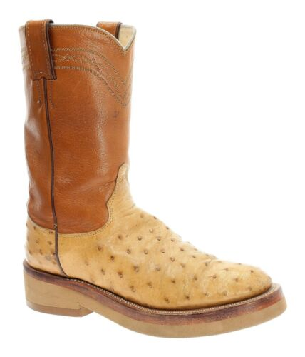 JUSTIN, Cowboy, Boots, 7, B, Mens, Exotic, OSTRICH, Full, Quill, Roper, Western, USA, VTG