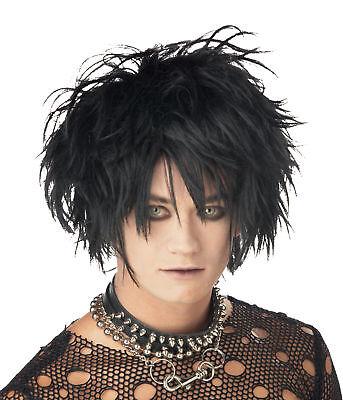 Mens Vampire Wig (MENS MIDNIGHT FIEND PUNK GOTHIC VAMPIRE BLACK WIG COSTUME ACCESSORY)