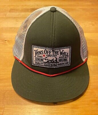 Vans snapback cap, unisex, rare, retro, skater style, bottle green, red, white