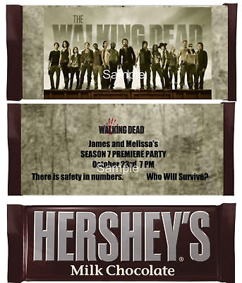 Walking Dead Zombies Candy Bar Wrapper Personalized Party Favor](Zombie Party Favors)