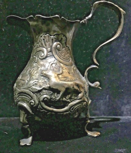 Antique Sterling Repoussé Chase Figural Steer Shell Footed Creamer 18th Century