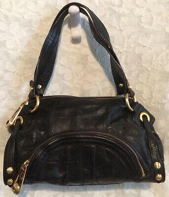 B. Makowsky Soft Black Leather Handbag / Leopard Print Lining XLNT Condition