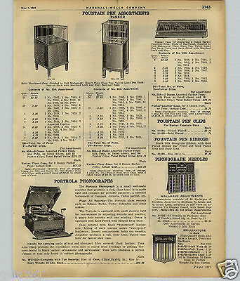 1922 PAPER AD Parker Fountain Pen Store Display Showcase Case Hohner Harmonicas