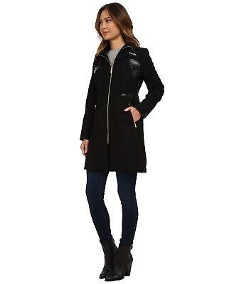 Via Spiga Leather Coat - Via Spiga NEW Women's Black Wool Coat, Faux Leather trim,  Size 4