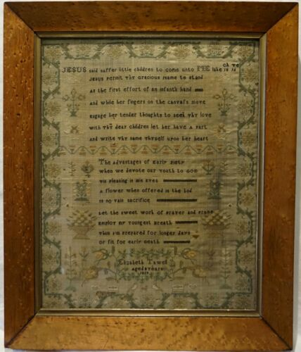 EARLY 19TH CENTURY TWO VERSES & MOTIF SAMPLER BY ELIZABETH TAWELL AGED 8 - 1829