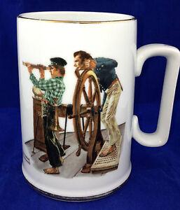 1985-Norman-Rockwell-Museum-collectible-mug-River-Pilot-porcelain-cup-mug