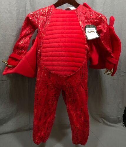 Pottery Barn Kids Red Dragon Halloween Costume 3T+Treat Bag