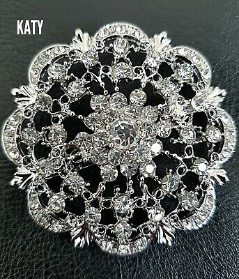 Vintage Style Silver Tone Clear Diamante Crystal BROOCH Flower Brooch Pin Lapel
