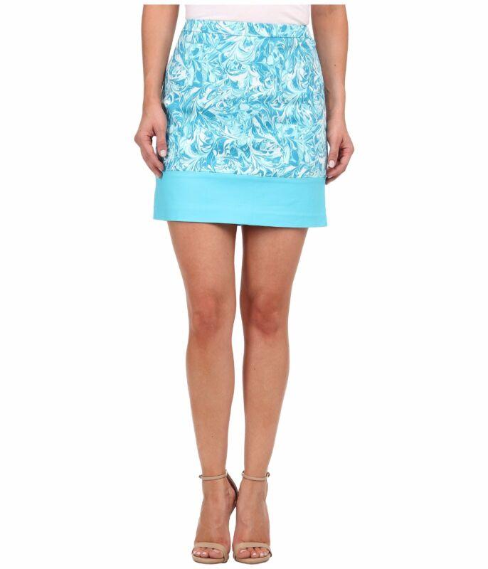 MICHAEL KORS Marble Lake Swirl Colorblock Mini Skirt Aqua Blue XS 2