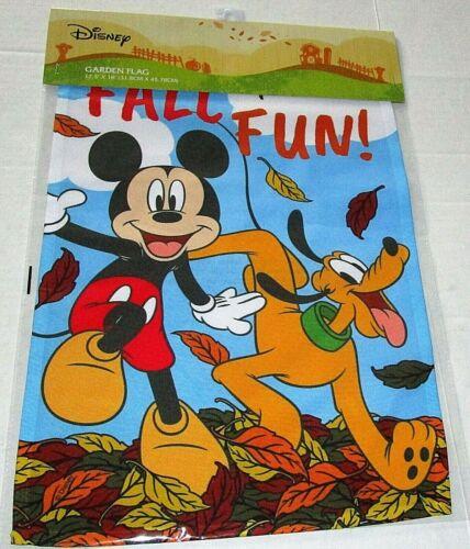 "DISNEY GARDEN FLAG 12.5""x 18""  FALL FUN/ MICKEY & GOOFY"