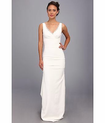 Nicole Miller Nina Ivory Women's Sleeveless Bridal Wedding Dress Gown Size 8