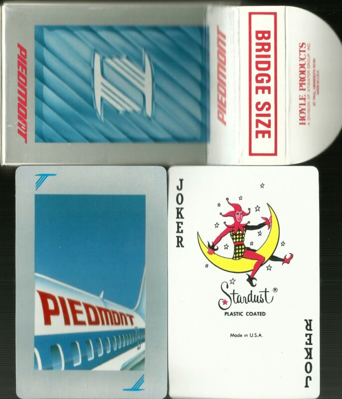 Vintage Piedmont Airlines 54 Playing Cards HOYLE USA plastic coated bridge size