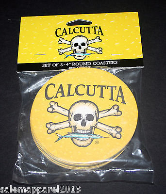 CALCUTTA BEER DRINK BAR COASTERS FISHING TACKLE SKULL CROSS BONES 8-PACK - NEW
