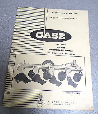 Case 1000 Series Mounted Moldboard Plow Parts Catalog Manual A877 1968