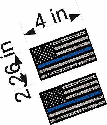 "4"" Tattered THIN BLUE LINE Police Officer REFLECTIVE American Flag PAIR decals"