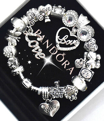 "Authentic Pandora Bracelet Silver Wife ""Love Story"" European Charms Christmas"
